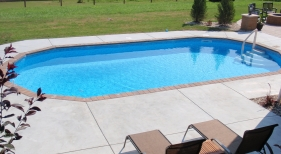 Geometric Above Ground Pool placed inground